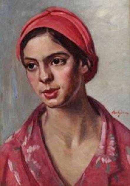Fată cu basma roşie
